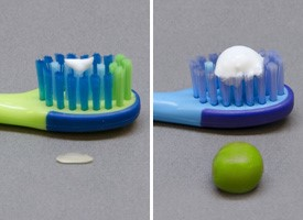 Kids fluoride toothpaste recommendation rice vs pea